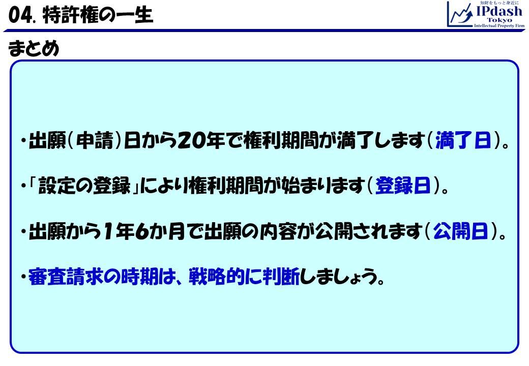 出願(申請)日から20年で権利期間が満了します(満了日)。「設定の登録」により権利期間が始まります(登録日)。出願から1年6か月で出願の内容が公開されます(公開日)。審査請求の時期は、戦略的に判断しましょう。