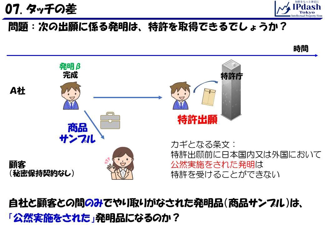 自社と顧客との間のみでやり取りがなされた発明品(商品サンプル)は、「公然実施をされた」発明品になるのでしょうか?ヒント「特許出願前に日本国内又は外国において公然実施をされた発明は特許を受けることができない」